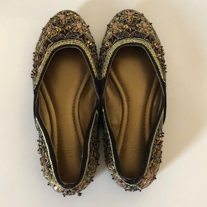 Chinese Laundry Gold Sequin Ballet Flats